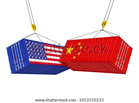 United States and China Cargo Container Isolated. Trade war Concept. 3D rendering