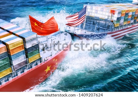 United States and China import export  trade war concept. Cargo containers ships collision as USA vs China business finance economic trade tension conflict and America China trade deficit symbol. 3D