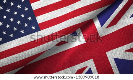 United States and United Kingdom two flags textile cloth, fabric texture #1309909018