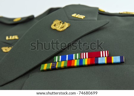 United States Army awards on class A Green Uniform