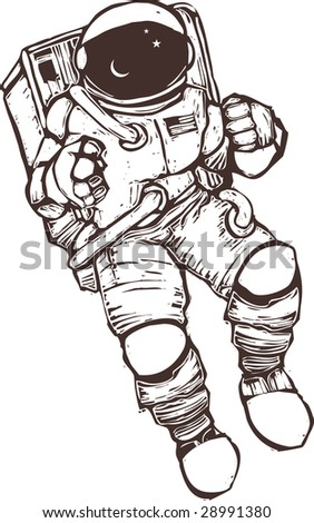United States astronaut wearing a space suit. - stock photo