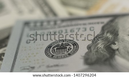 United States bank seal on dollar banknote close-up, world economy, finance