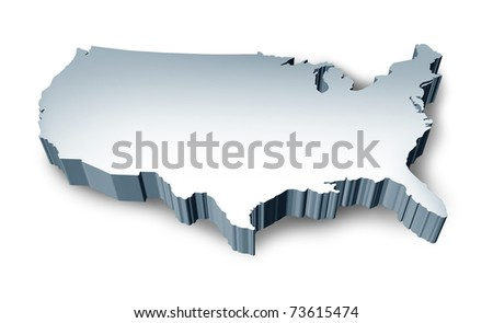United States blank 3D map isolated on white background.