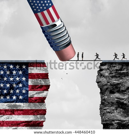 United States border isolationism and protectionism or American immigration refugee crisis as people running to cross a bridge that is being erased by a pencil with 3D illustration elements.