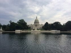 United States Capitol building and General Ulysses S. Grant Memorial in front. Washington DC.
