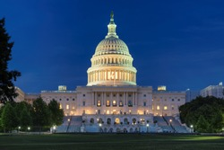 United States Capitol building at night in Washington DC, USA