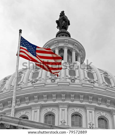United States Capitol Building in Washington DC in Black & White and American Flag in Color