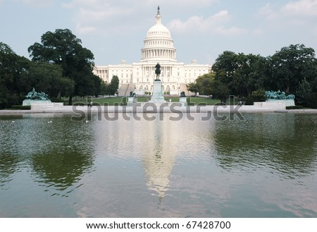 United States Capitol Building, reflecting pool and Grant Memorial
