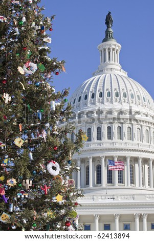 United States Capitol Building with Christmas Tree