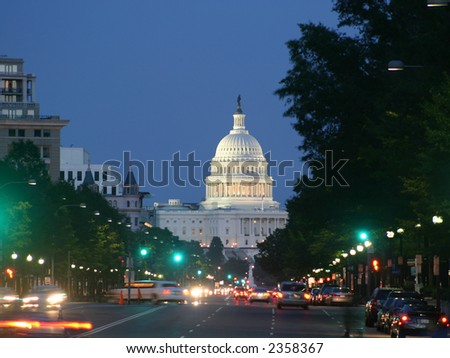 United States Capitol in Washington DC at night