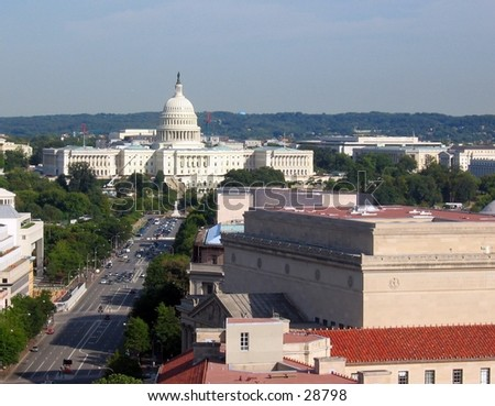 United States Capitol, Washington D.C. (Taken from tower of the Postal Pavilion) - stock photo