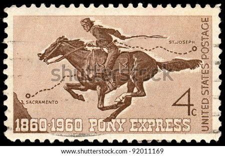 UNITED STATES - CIRCA 1960: A 4 cents stamp printed in the United States shows Pony Express Rider, circa 1960