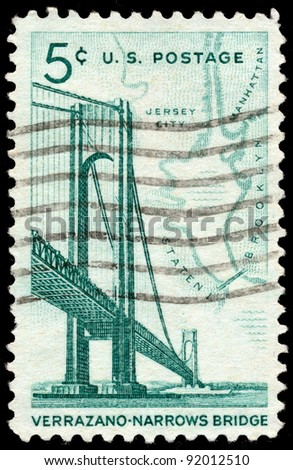 UNITED STATES - CIRCA 1964: A 5 cents stamp printed in the United States shows Verrazano-Narrows Bridge and Map of NY Bay, circa 1964