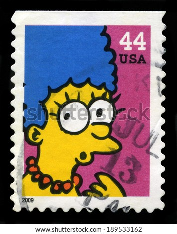 UNITED STATES CIRCA 2009 A Postage stamp from the USA featuring an image of Marge Simpson from The Simpsons circa 2009