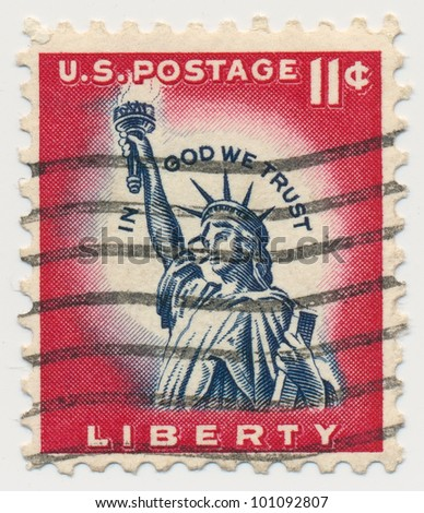 UNITED STATES - CIRCA 1954: A postage stamp of the printed in the United States, shows Statue of Liberty, circa 1954