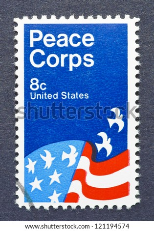 UNITED STATES - CIRCA 1971: a postage stamp printed in United States showing an image of a Peace Corps poster, circa 1971.