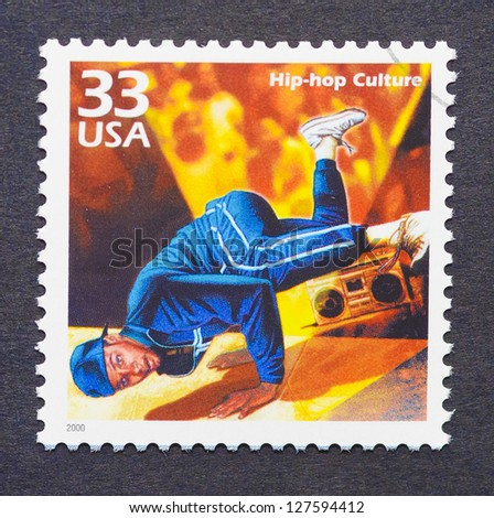 UNITED STATES -Â?Â? CIRCA 2000: A postage stamp printed in USA showing an image of a break dancer, circa 2000.