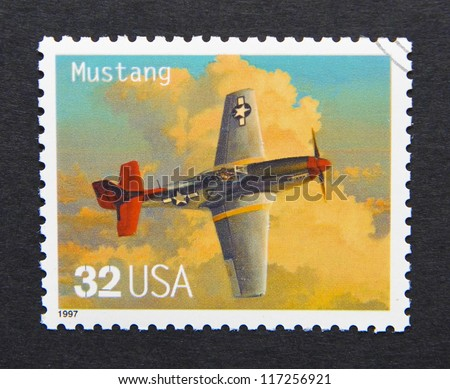 UNITED STATES - CIRCA 1997: a postage stamp printed in USA showing an image of a Mustang aircraft, circa 1997.