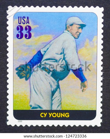 UNITED STATES - CIRCA 2000: a postage stamp printed in USA showing an image of Cy Young, circa 2000.