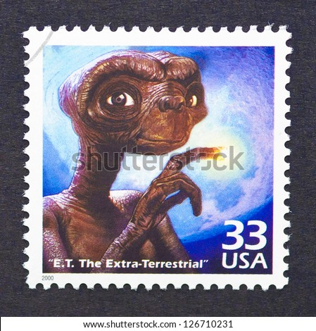 UNITED STATES � CIRCA 2000: a postage stamp printed in USA showing an image of E.T. the Extra-Terrestrial movie, circa 2000.