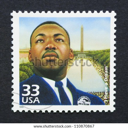 UNITED STATES -Â?Â? CIRCA 1999: a postage stamp printed in USA showing an image of Martin Luther King Jr., circa 1999.