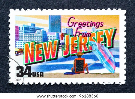 UNITED STATES – CIRCA 2002: A postage stamp printed in USA showing an image of New Jersey state, circa 2002.