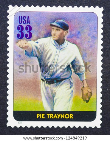 UNITED STATES -Â?Â? CIRCA 2000: A postage stamp printed in USA showing an image of Pie Traynor, circa 2000.