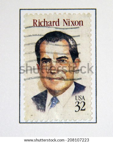 UNITED STATES - CIRCA 1995: a postage stamp printed in USA showing an image of president Richard Nixon, circa 1995.