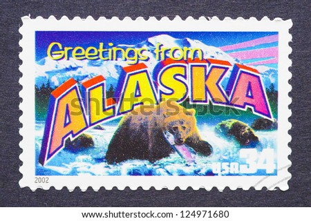 UNITED STATES - CIRCA 2002: a postage stamp printed in USA showing an image of the Alaska state, circa 2002.