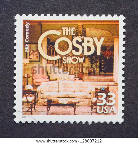 UNITED STATES � CIRCA 2000: a postage stamp printed in USA showing an image of The Cosby Show sitcom, circa 2000.