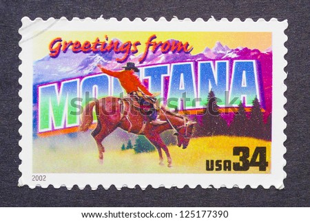 UNITED STATES - CIRCA 2002: a postage stamp printed in USA showing an image of the Montana state, circa 2002.