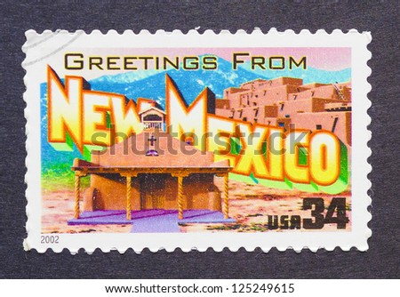 UNITED STATES - CIRCA 2002: a postage stamp printed in USA showing an image of the New Mexico state, circa 2002.