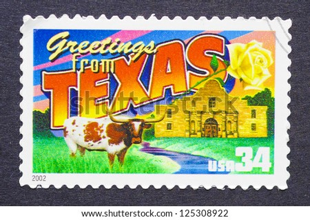UNITED STATES � CIRCA 2002: a postage stamp printed in USA showing an image of the Texas state, circa 2002. - stock photo
