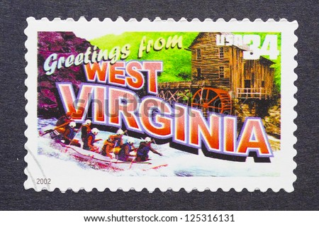 UNITED STATES � CIRCA 2002: a postage stamp printed in USA showing an image of the West Virginia state, circa 2002.