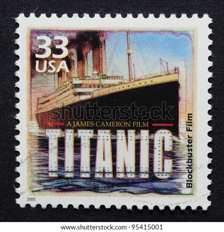 UNITED STATES - CIRCA 2000: A postage stamp printed in USA showing an image of Titanic movie from James Cameron, circa 2000.