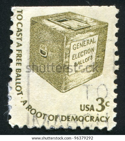 UNITED STATES - CIRCA 1975: A stamp printed by United States of America, shows early ballot box, circa 1975