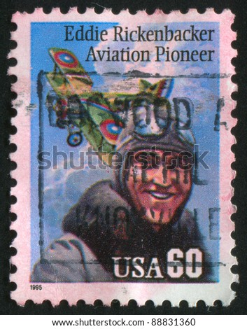 UNITED STATES - CIRCA 1995: A stamp printed by United States of America, shows Eddie Rickenbacker Aviation Pioneer, circa 1995