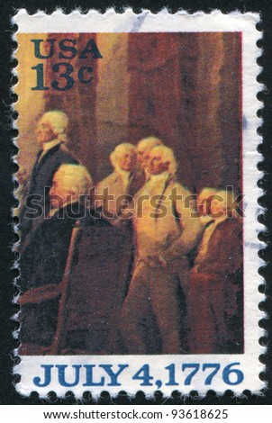 "UNITED STATES - CIRCA 1976: A stamp printed by United States of America, shows part of the picture "" Declaration of Independence"", by John Trumbull, circa 1976"