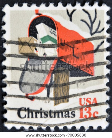 UNITED STATES - CIRCA 1977: A stamp printed by United States of America, shows postbox, circa 1977