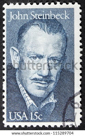 UNITED STATES - CIRCA 1979: A stamp printed by United States shows portrait of famous American writer John Steinbeck (1902-1968), circa 1979