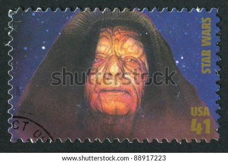 UNITED STATES - CIRCA 2007: A stamp printed by United States, shows Star Wars, Emperor Palpatine, circa 2007 - stock photo