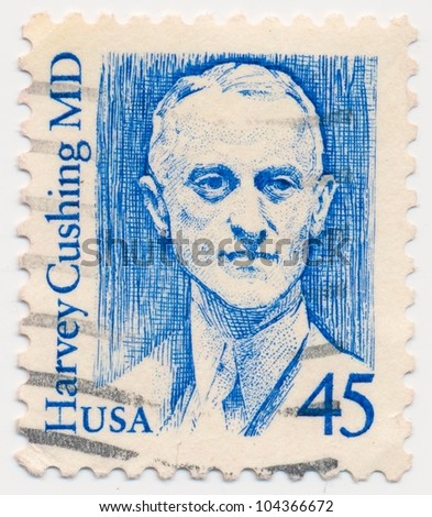UNITED STATES - CIRCA 1988: A stamp printed in the United States, shows portrait of Harvey Cushing (1869-1939) was an American neurosurgeon, series, circa 1988
