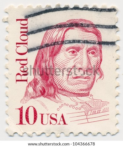 UNITED STATES - CIRCA 1987: A stamp printed in the United States, shows portrait of Red Cloud (1822-1909) chief of the Oglala Lakota, series, circa 1987