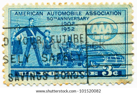 UNITED STATES - CIRCA 1952: A stamp printed in the United States, shows School Girls and Safety Patrolman,  Automobiles of 1902 and 1952, circa 1952