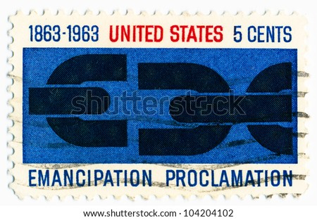 "UNITED STATES - CIRCA 1963: A stamp printed in the United States, shows Severed Chain ""Emancipation proclamation"", circa 1963"