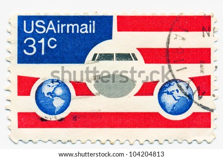 UNITED STATES - CIRCA 1976: A stamp printed in the United States, shows the US Airmail post stamp, circa 1976