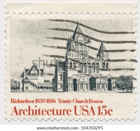 UNITED STATES - CIRCA 1980: A stamp printed in the United States, shows Trinity Church, Boston, by Henry Hobson Richardson, series American Architecture, circa 1980