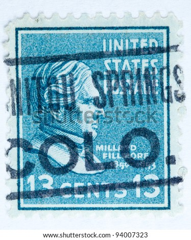 UNITED STATES - CIRCA 1938 : A stamp printed in United States. Displays the profile of President Millard Fillmore with a post mark from Manatou Springs Colorado. United States - circa 1938