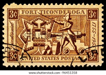 UNITED STATES - CIRCA 1955: A stamp printed in United States.Map of Fort Ticonderoga,artillery and Ethan Allen.United States, circa 1955