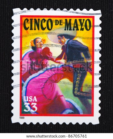 UNITED STATES- CIRCA 1999: A stamp printed in United States shows cinco de mayo, circa 1999